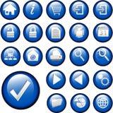 blå set för inlägg för knappsamlingssymboler Arkivbilder