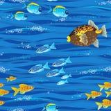 Blå sömlös havsbakgrund Arkivfoto
