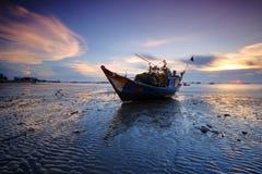 Blå timme på Vung Tau Beach Arkivfoton