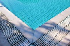 Bl?tt rivit s?nder vatten i simbass?ng i tropisk semesterort med kanten av trottoar Del av simbass?ngbottenbakgrund royaltyfria bilder