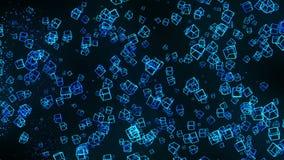 Bl?ttkuber p? svart bakgrund Anslutningen av kuber 3d med geometriskt polygonal cyberspace Aff?rssymbol stock illustrationer