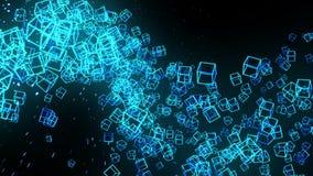 Bl?ttkuber p? svart bakgrund Anslutningen av kuber 3d med geometriskt polygonal cyberspace Aff?rssymbol vektor illustrationer