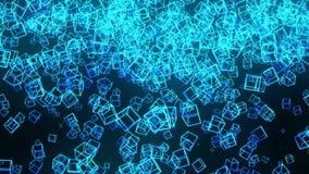Bl?ttkuber p? svart bakgrund Anslutningen av kuber 3d med geometriskt polygonal ?glasanimering cyberspace Aff?rssymbol royaltyfri illustrationer