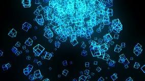 Bl?ttkuber p? svart bakgrund Anslutningen av kuber 3d med geometriskt polygonal ?glasanimering cyberspace Aff?rssymbol stock illustrationer