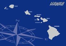 Blå översikt av oss stat av Hawaii med kompasset Royaltyfri Bild