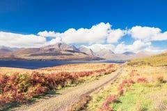Bla Bheinn Blaven - spectacular rocky mountain on warm sunny day on Isle of Skye stock photography