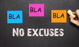 BLA BLA BLA trening motywacja na blackboard, - Żadny wymówki - Fotografia Royalty Free