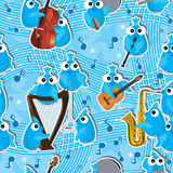 Blåa fåglar Instrument Seamless Pattern_eps Arkivbild