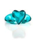 blåa glass hjärtor Arkivfoton
