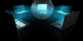 blåa glödbärbar dator Arkivfoto