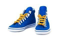 blåa gymnastikskor Royaltyfri Fotografi