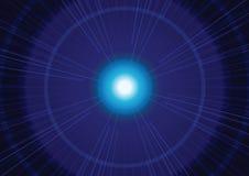 Blåa ljus zoomar abstrakt bakgrund, vektorillustration Arkivbild