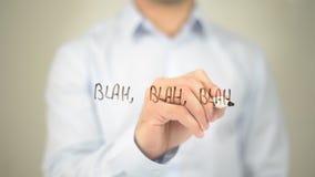 Bla bla bla, mężczyzna writing na przejrzystym ekranie Obrazy Royalty Free