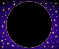 blåa stjärnor för cirkelramguld Royaltyfri Fotografi