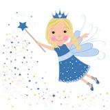 Blåa stjärnor för gullig saga som skiner Royaltyfria Bilder