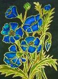 Blåa vallmo på svart bakgrund som målar Royaltyfri Bild