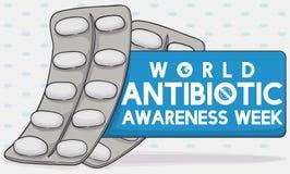 Blaarpakken en Etiket het Herdenken Week van de Wereld de Antibiotische Voorlichting, Vectorillustratie stock illustratie