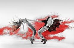 Blac&white portrait of talented hip hop dancers Stock Images