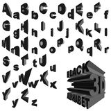 Black 3d alphabet. Complete alphabet set in three-dimensional objects Stock Photo