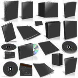 Black 3d blank cover collection. Isolated on white Royalty Free Stock Photo