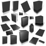 Black 3d blank cover collection. On white Royalty Free Stock Photo