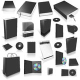 Black 3d blank cover collection. On white Royalty Free Stock Photos