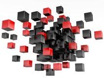 black 3d blockerar färgred Fotografering för Bildbyråer