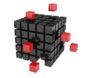 black 3d blockerar färgred royaltyfri illustrationer