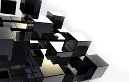 Black 3D cubes abstraction. Black 3D stile reflected cubes with conceptual composition Stock Photography