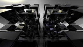 Black 3D cubes abstraction. Black 3D stile reflected cubes with conceptual composition Stock Image