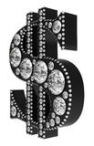 Black 3D Dollar symbol incrusted with diamonds. Isolated over white. Extralarge resolution. Other gems are in my portfolio Royalty Free Stock Photo