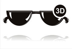 Black 3D glasses icon Stock Photography