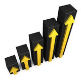 Black 3D graph with yellow arrows. On white background Royalty Free Stock Photos