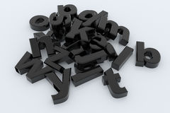 Black 3D letters. Black glossy 3D letters on white surface Royalty Free Stock Image