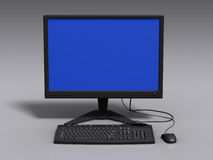 Black 3d model of keyboard, monitor and mouse. With blue-screen error stock image