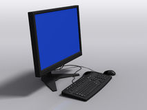 Black 3d model of keyboard, monitor and mouse. Side view of black 3d model of keyboard, monitor and mouse, with blue-screen error royalty free stock photos