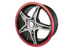 Black 5 Spoke Red Auto Rim Stock Images
