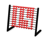 Black abacus with red hearts illustrating the number fourteen - 3d rendering -. Isolated on white background stock illustration
