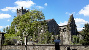 Black Abbey Church Kilkenny Ireland. With a walled fence and trees royalty free stock image