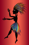 Black aborigine woman dancing Royalty Free Stock Photo