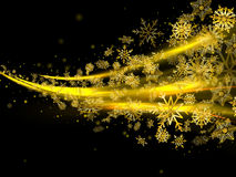 Black abstract background with flying Golden snowflakes. Christmas background with gold magic star dust. Black abstract background with flying Golden snowflakes vector illustration
