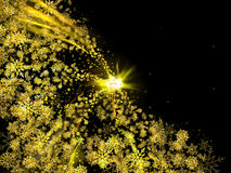 Black abstract background with flying Golden snowflakes. Black abstract background with gold snowflakes flying in the glowing center. Christmas background with Stock Illustration