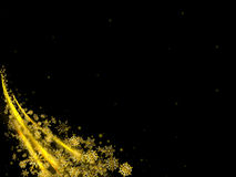 Black abstract background with flying Golden snowflakes. Black abstract background with a Golden wind from flying up the snowflakes in the lower left corner Royalty Free Stock Photos