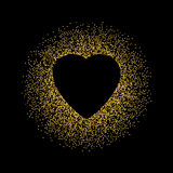 Black abstract background with Gold glitter Heart Stock Photo