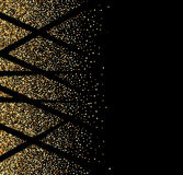 Black abstract background.Golden Shine. Texture. Gold glitter texture on black background Celebratory Golden confetti. Vector illustration Royalty Free Stock Photos
