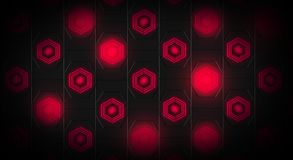 Black abstract background with hexagons backlit neon. Black abstract background with hexagons with backlight blue and red color Stock Images