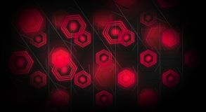Black abstract background with hexagons backlit neon. Black abstract background with hexagons with backlight blue and red color Royalty Free Stock Images