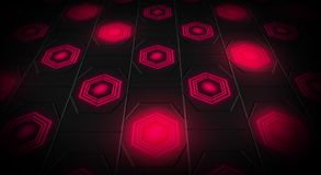 Black abstract background with hexagons backlit neon. Black abstract background with hexagons with backlight blue and red color Royalty Free Stock Photography