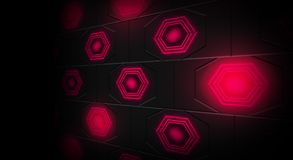 Black abstract background with hexagons backlit neon. Black abstract background with hexagons with backlight blue and red color Royalty Free Stock Photos