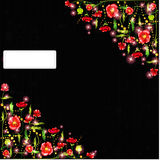 Black abstract background with poppy flower Stock Photos